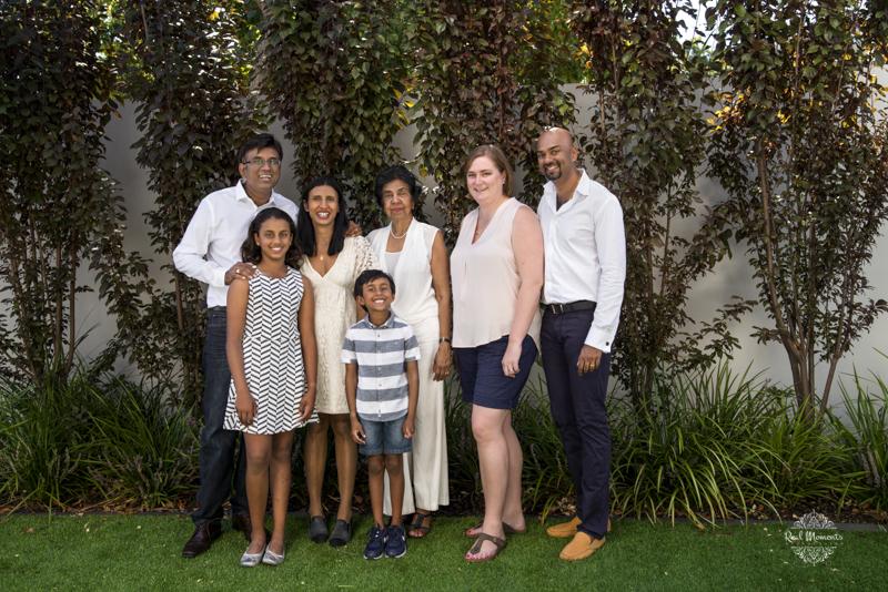A family portrait photo of the Mahadavans