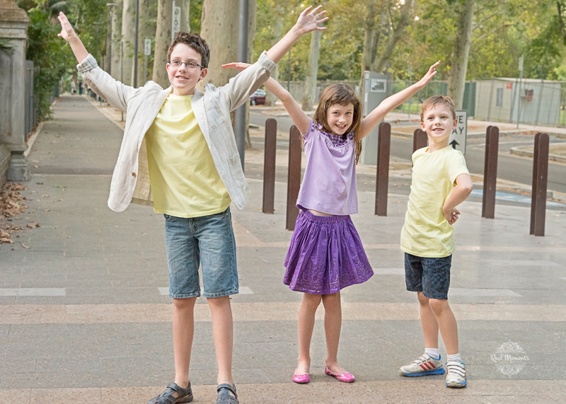 Family professional photography Adelaide - three kids playing