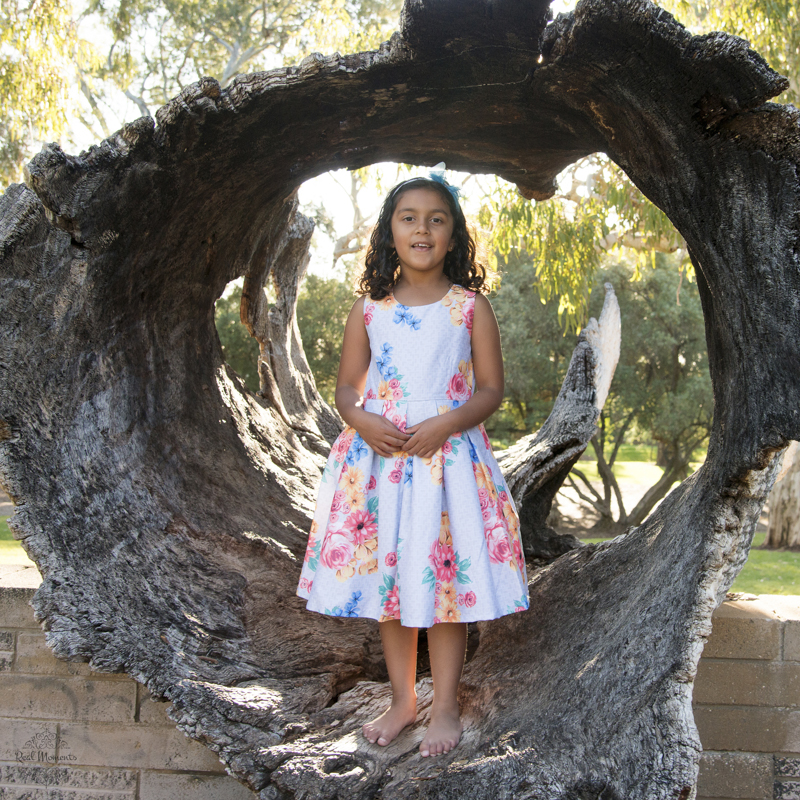 professional family photographer - girl standing on a tree trunk