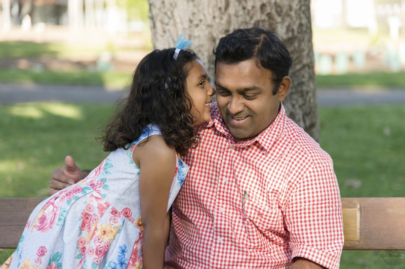 Adelaide family photographer - girl kissing her dad