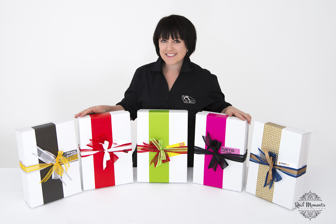 Women in business photography: boxsalicious gift products in colour