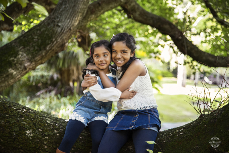 Adelaide children photography - Basanayke sisters in a tree branch